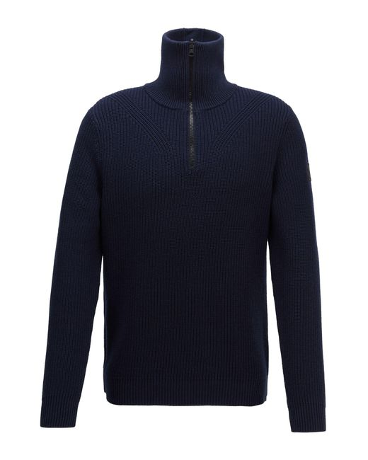 BOSS by Hugo Boss Blue Zip Neck Ribbed Sweater In Cotton With Virgin Wool for men