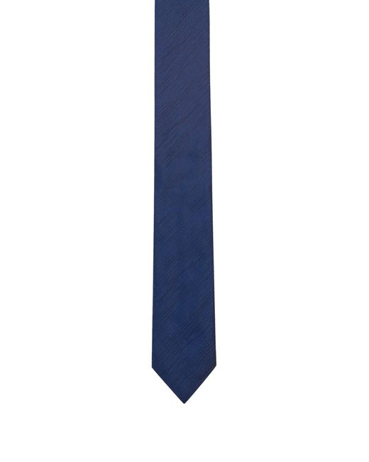 HUGO - Blue Silk-blend Tie With Rippled Texture for Men - Lyst