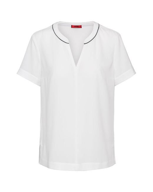 HUGO White Regular-fit Crepe Top With Contrast Piping