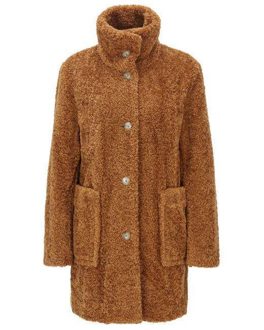 BOSS Brown Regular-fit Teddy Coat With Stand Collar