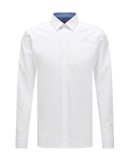 HUGO | White Extra-slim-fit Cotton Poplin Shirt With Internal Contrasts for Men | Lyst