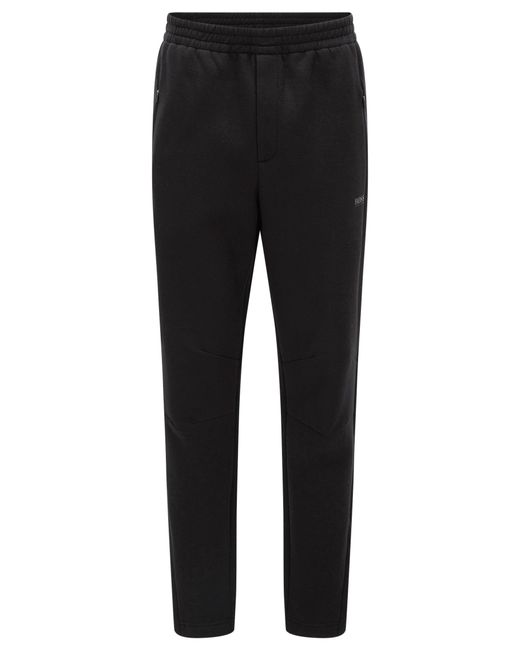 BOSS Green | Black Slim-fit Trousers In Double-faced Fabric for Men | Lyst