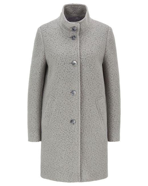 BOSS Gray Regular-fit Coat In Wool-blend Bouclé