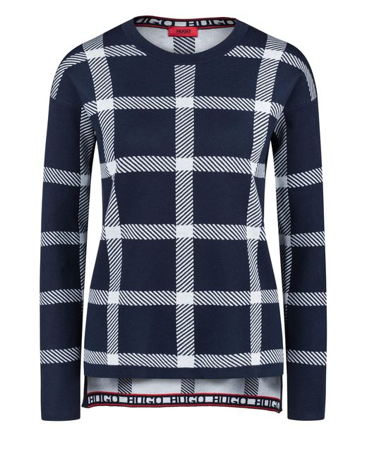 HUGO - Blue Relaxed-fit Checked Sweater In A Stretch-cotton Blend - Lyst