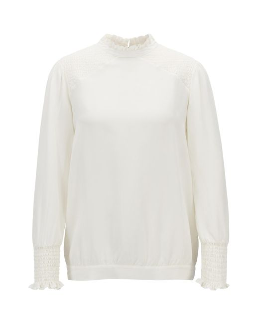 BOSS - Natural Regular-fit Blouse In Silk With Ruching And Smocking - Lyst