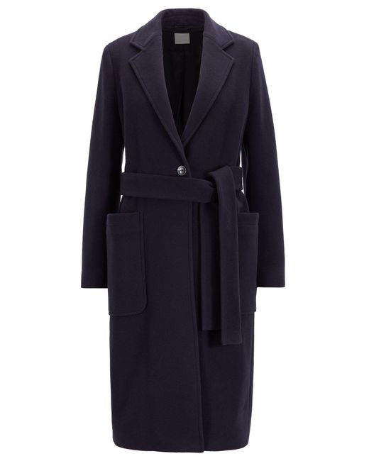BOSS Blue Belted Coat In A Virgin-wool Blend With Cashmere