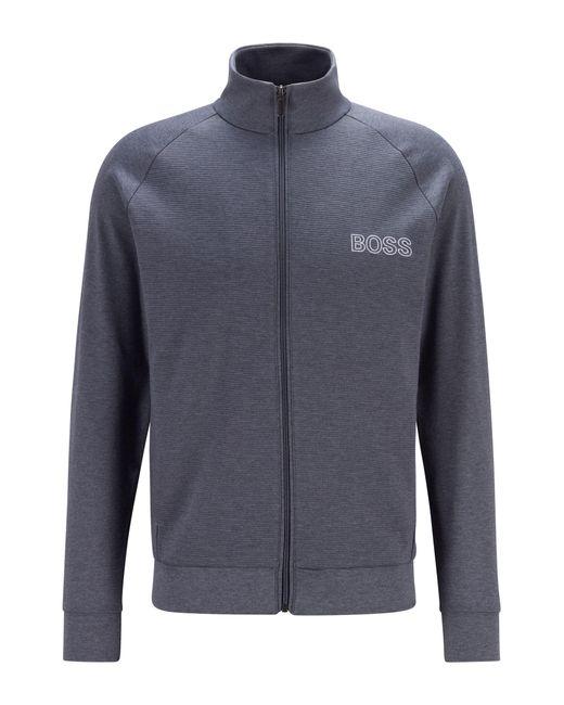 Sweat d'intérieur zippé en coton à détails ottoman BOSS by Hugo Boss pour homme en coloris Gray