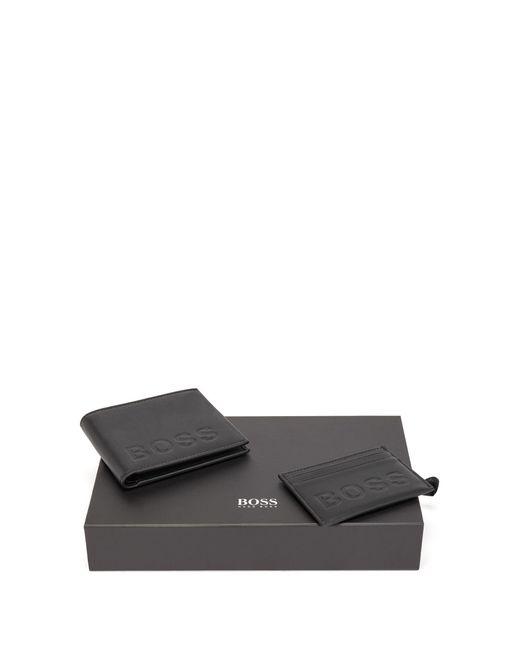 Coffret cadeau avec portefeuille et porte-cartes en cuir à logo emé BOSS by Hugo Boss pour homme en coloris Black