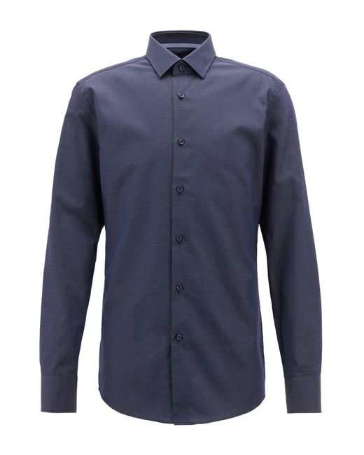 BOSS - Blue Slim-fit Shirt In Italian Cotton With Dot Motif for Men - Lyst