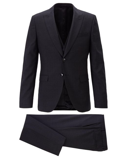 BOSS Black Extra-slim-fit Three-piece Suit In Plain-check Virgin Wool for men