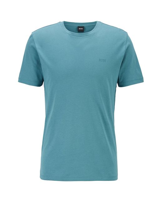 BOSS by Hugo Boss Green Crew-neck T-shirt In Yarn-dyed Single Jersey for men