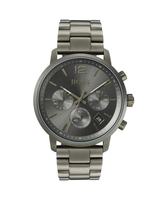 BOSS - Multicolor Chronograph Watch In Khaki-plated Stainless Steel for Men - Lyst