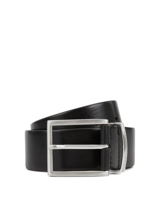 BOSS Black Leather Belt With Logo-engraved Keeper for men