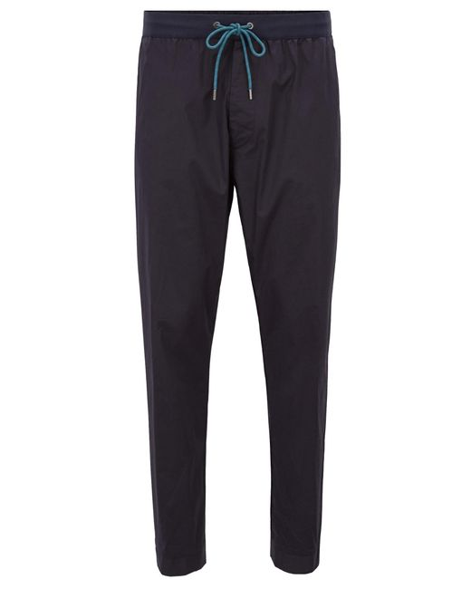 BOSS - Blue Relaxed-fit Stretch-cotton Chinos With Drawstring Waist for Men - Lyst