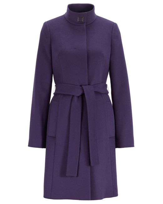 BOSS Purple Tie-waist Coat In Italian Virgin Wool With Cashmere