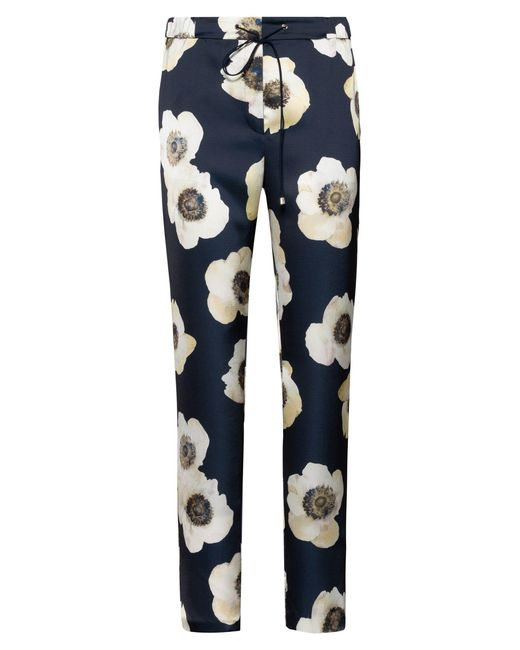HUGO Multicolor Drawstring Trousers In Hammered Fabric With Anemone Print