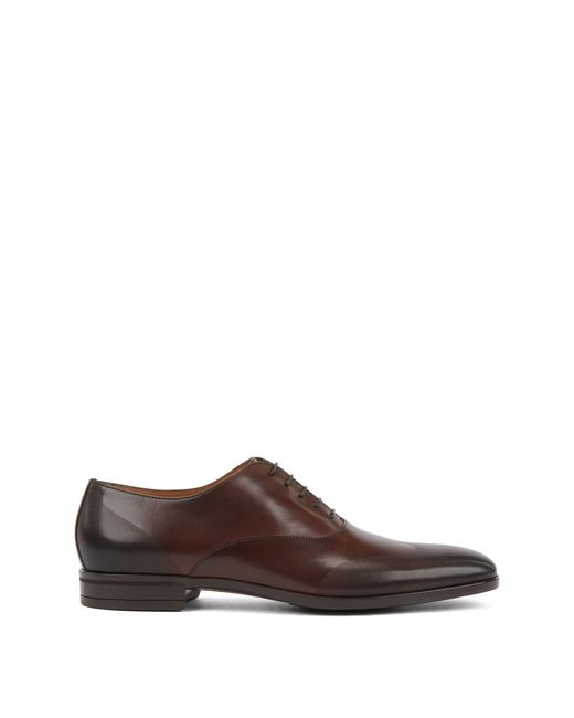 BOSS Brown Oxford Shoes In Burnished Leather With Laser-cut Panels for men