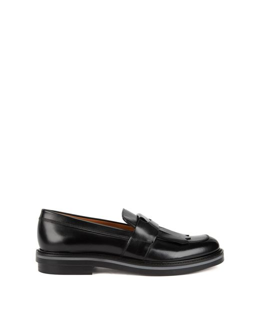 BOSS - Black Kilted-trim Loafers In Patent Calf Leather for Men - Lyst