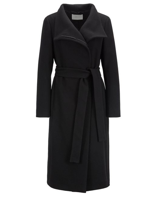 BOSS Black High-neck Coat In A Textured Wool Blend With Cashmere