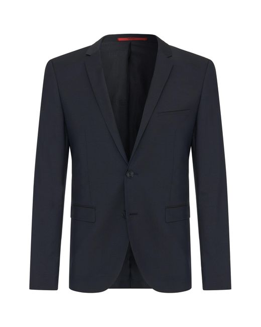 HUGO - Blue Plain-coloured Extra-slim-fit Jacket In New Wool: 'addys' for Men - Lyst
