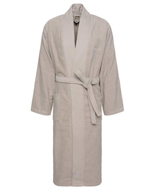 BOSS Natural Kimono-style Bathrobe In Combed Aegean Cotton