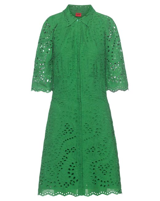 HUGO Green Broderie-anglaise Shirt Dress With Scalloped Edges