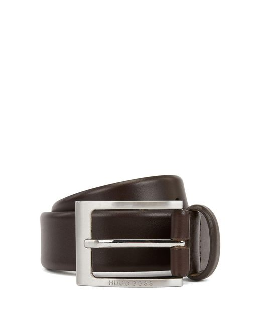BOSS Brown Leather Belt With Logo-engraved Buckle for men