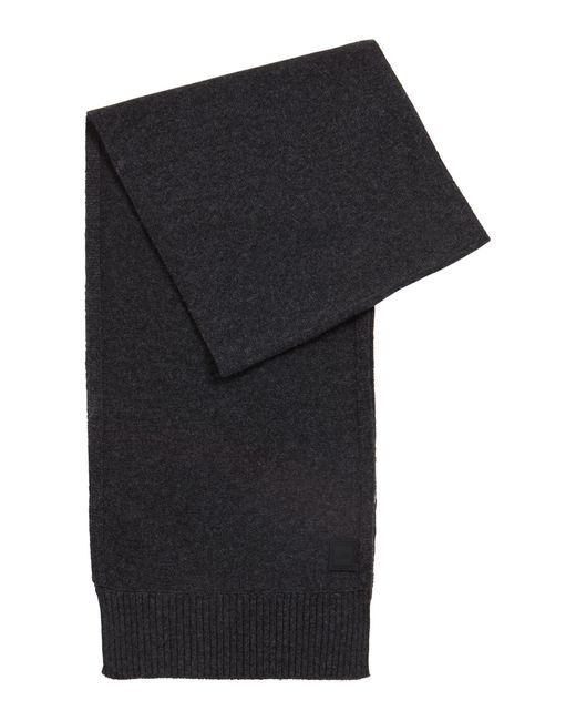 BOSS Gray Structured-knit Scarf In Italian Yarn for men