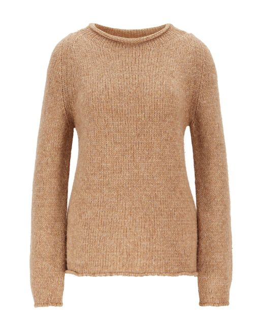 BOSS Brown Alpaca-blend Sweater With Rolled Neckline