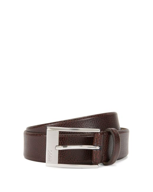 HUGO - Brown Pin-buckle Belt In Grained Leather for Men - Lyst