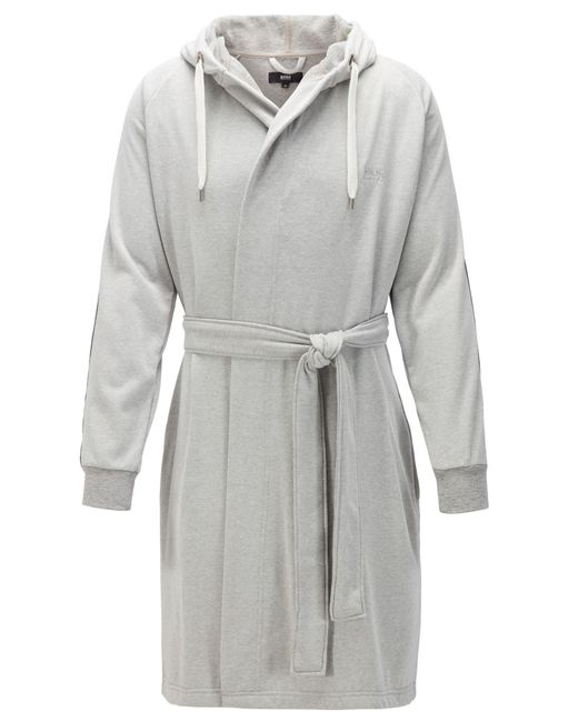 BOSS Gray Cotton-blend Hooded Bathrobe With Striped Sleeves