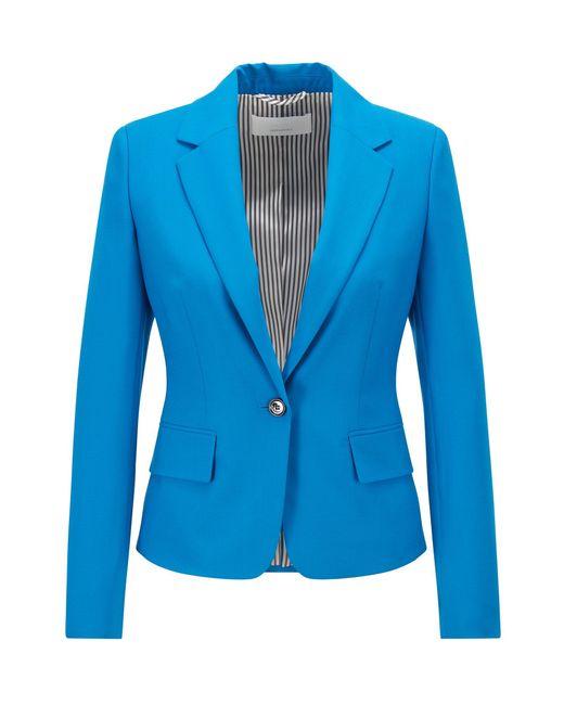 BOSS by Hugo Boss Blue Tailored Jacket In Traceable Stretch Virgin Wool
