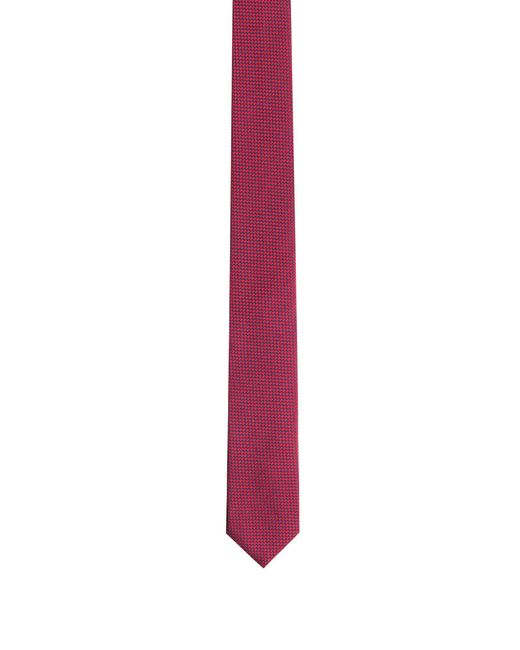 HUGO | Red Patterned Tie In Silk Jacquard for Men | Lyst