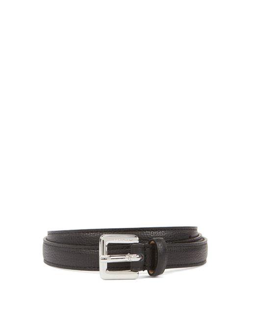 BOSS by Hugo Boss Black Slim Belt In Grained Italian Leather