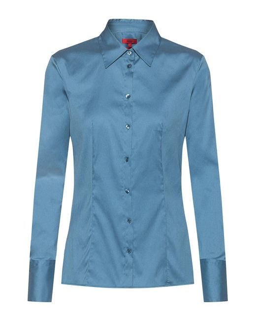 HUGO Blue Slim-fit Blouse In Easy-iron Poplin
