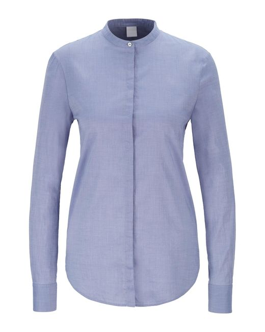 BOSS Blue Relaxed-fit Blouse In Cotton-blend Chambray