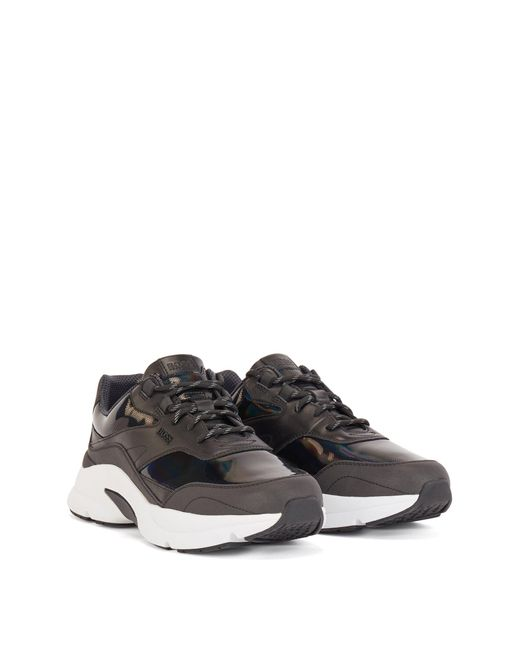 BOSS by Hugo Boss Black Mixed-material Trainers With Branded Bubble for men