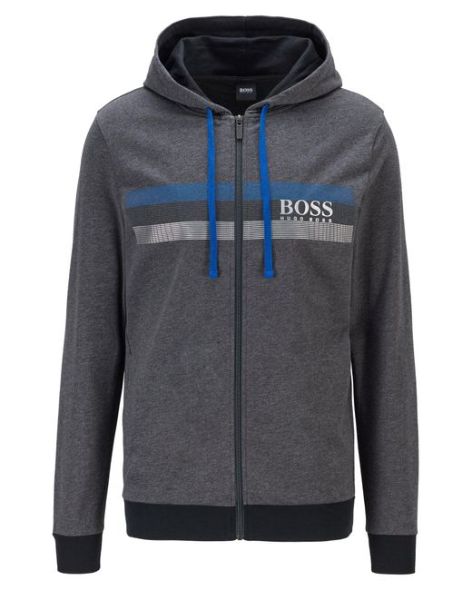 BOSS by Hugo Boss Gray Hooded French-terry Jacket With Block-striped Logo Print for men