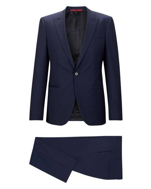 HUGO   Blue 'adgin/hiels'   Slim Fit, Jacquard Italian Super 120 Virgin Wool Suit for Men   Lyst