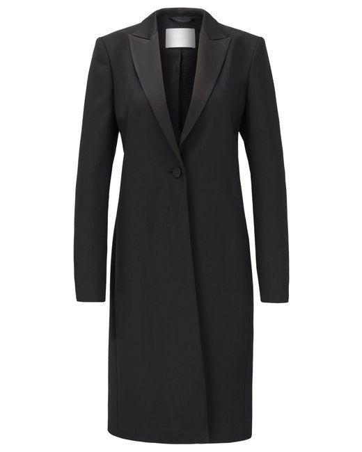 BOSS by Hugo Boss Black Tuxedo-style Coat In Italian Virgin-wool Twill