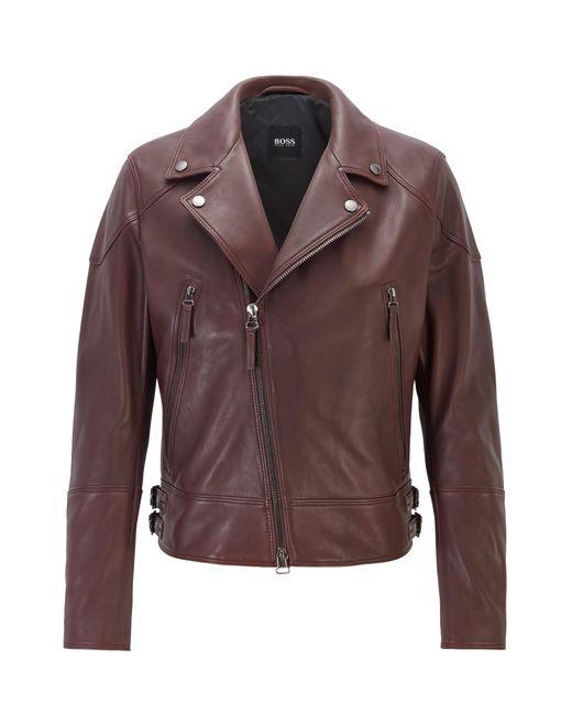 BOSS Red Short-length Biker Jacket In Nappa Leather for men