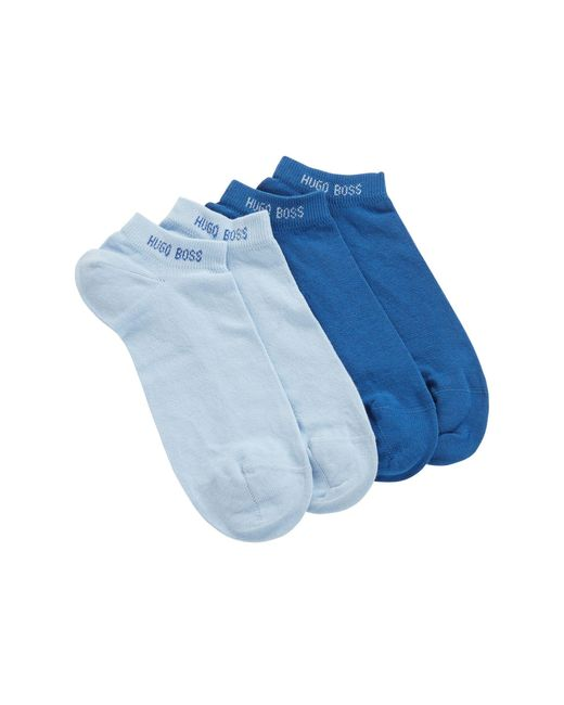 BOSS Blue Two-pack Of Combed Cotton-blend Ankle Socks for men