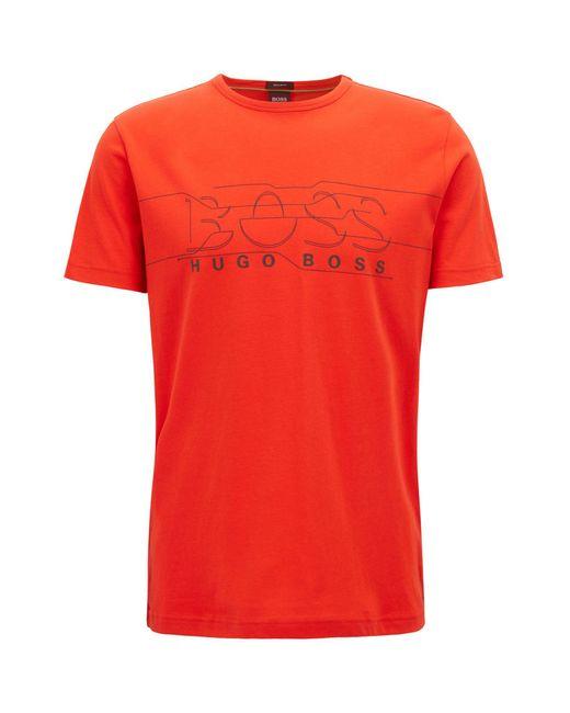 BOSS - Orange Crew-neck T-shirt With Logo Artwork for Men - Lyst