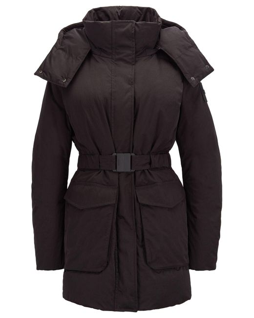BOSS Black Water-repellent Down Coat With Detachable Hood