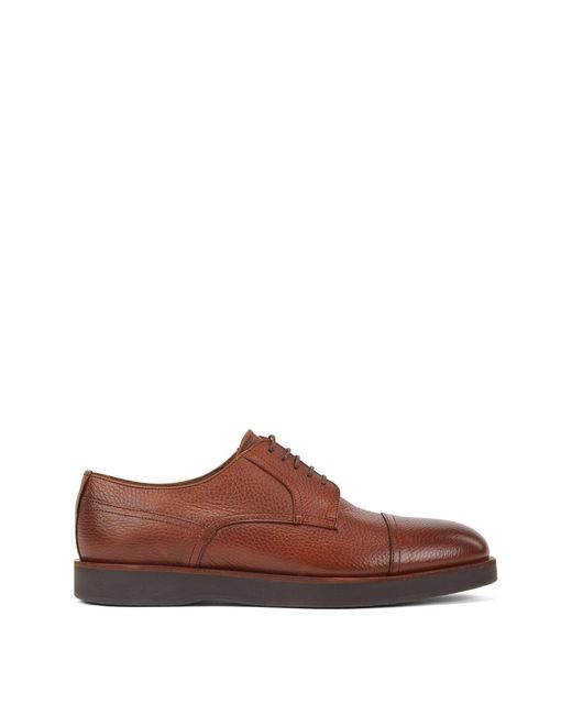 BOSS Brown Grained-leather Derby Shoes With Monogram-emed Soles for men