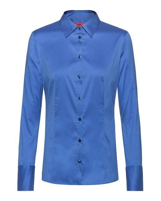 HUGO Blue Slim-fit Blouse In Easy-iron Poplin