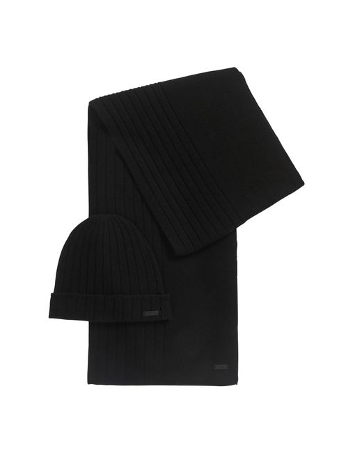 BOSS Black Hat And Scarf Set In Pure Cashmere for men