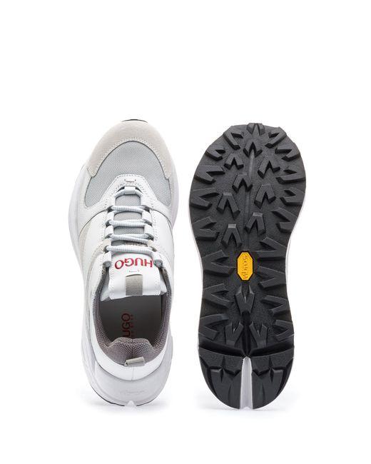 21ffbcb1e76 ... HUGO - White Chunky Running-style Sneakers In Mesh