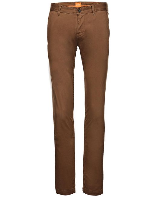 BOSS Orange | Natural Slim-fit Chinos In Brushed Stretch Cotton By for Men | Lyst