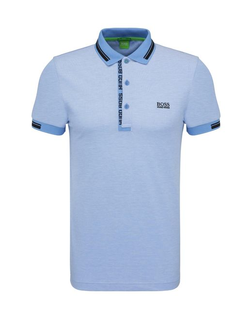 BOSS Green | Blue 'paule' | Slim Fit, Cotton Polo Shirt for Men | Lyst